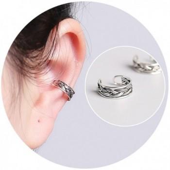 Aifeer 925 Sterling Silver Non Pierced Ear Cuff Retro Twist Earrings For Men And Women - CT185A4O5Y8