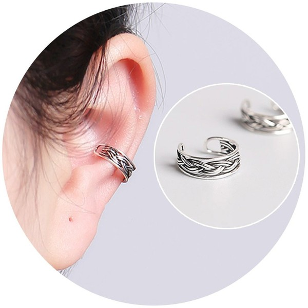 3eca32aba Aifeer 925 Sterling Silver Non Pierced Ear Cuff Retro Twist Earrings For  Men And Women -