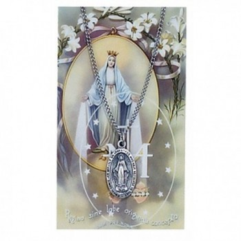 "Pewter Miraculous Medal with 18"" Stainless Steel Necklaces and Prayer Card - CW119DQ691X"