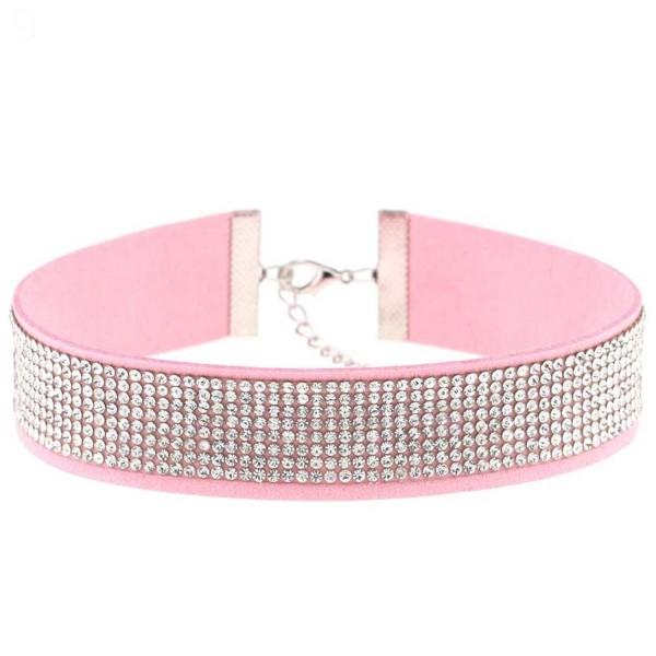 SANWOOD Women's Shiny Rhinestone Gothic Velvet Choker Necklace Dance Club Jewelry Gift (Pink) - CF182EZ9X05