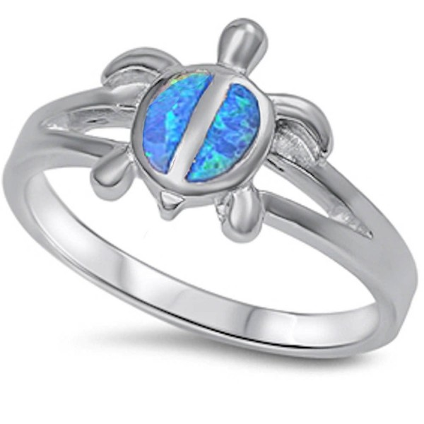 Simulated Fire Blue Opal turtle .925 Sterling Silver Ring Sizes 5-10 - CS11NJ7JAQH