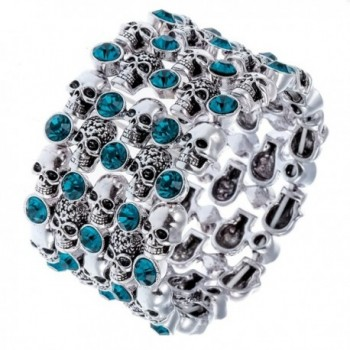 Hiddlston Cupper Sugar Skull Candy Arm Stretch Cuff Bracelet Jewelry For Women - Blue - C3186ZEZZGC