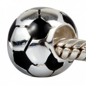 Soccer Football Charm with Black White Enamel Charm Sport Bead Fit DIY Charms Bracelets - CX12NGFBM23