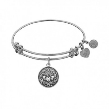 "Angelica Collection Antique Smooth Finish Brass ""claddagh"" Expandable Bangle - White - CY11JRW0TB9"