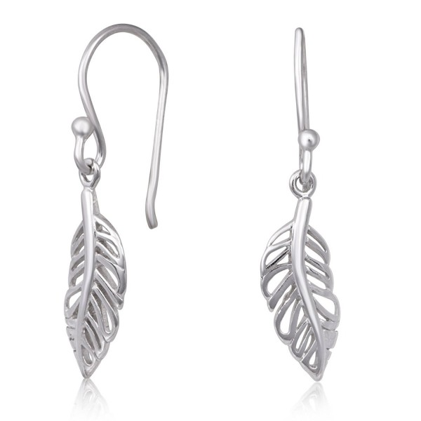 925 Sterling Silver Feather Design Rhodium Plated Drop Dangle Earrings - CO184ADZYDM