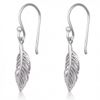 Sterling Silver Feather Rhodium Earrings