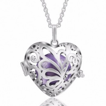 "EUDORA Harmony Ball Fairy Butterfly 18mm Pregnancy Mexican Bola Chime Pendant- 30"" Nekclace - Lavender - C4187LQQTUQ"