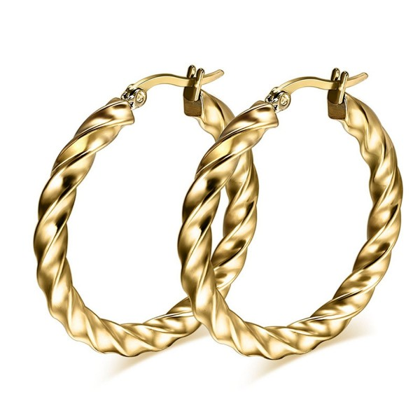 DIB Fashion Jewelry Stainless Steel Twist Wave Rope Large Hoop Earring for Women - CA12K4OMW8L