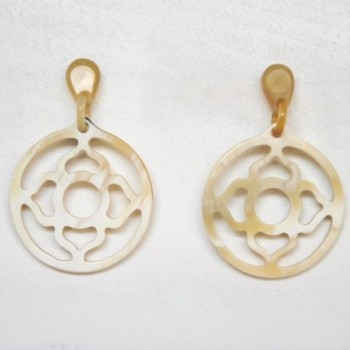 Mary Crafts Womens Handmade Buffalo Horn Lotus Drop Dangle Earrings - White shade - C0128BR548D