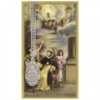 St. Thomas Aquinas 1-inch Pewter Medal Pendant Necklace with Holy Prayer Card - CZ117J9JB9D