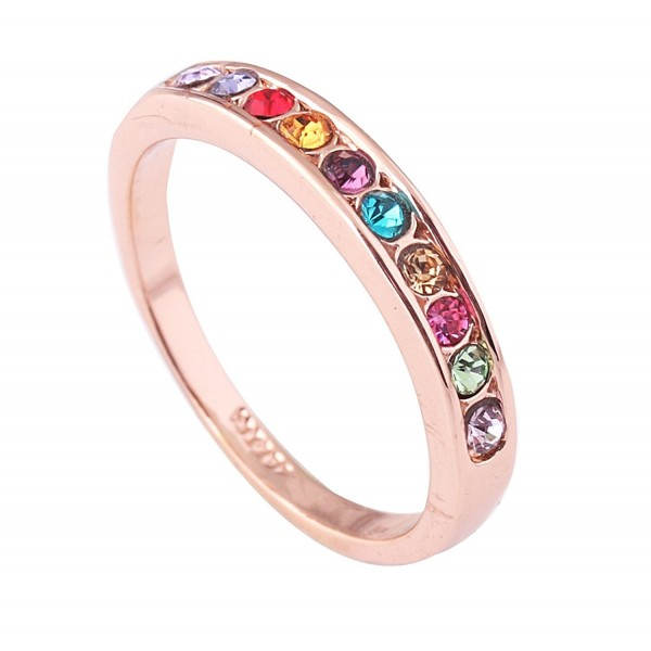 Acefeel Fashion Simplicity Rose Gold Plated Multicolor Czech Drilling Band Ring Girlfriend Gift - CE1200NRTLB