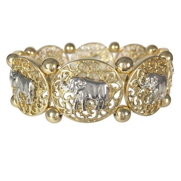 Elephant Gold Tone & Silver Tone Filigree Disk Boutique Stretch Bracelet - CD1217JEWA7
