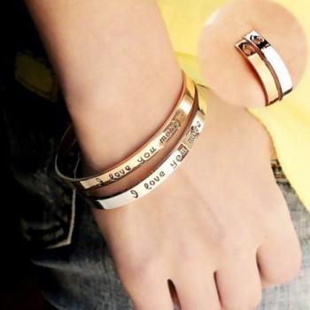 Kebaner Bracelet Engraved Girlfriend Couples in Women's Cuff Bracelets