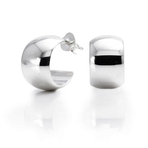 Silverly Women's Men's .925 Sterling Silver 8 mm Half Cuff Hoop Stud Earrings - CP11OXKA18F