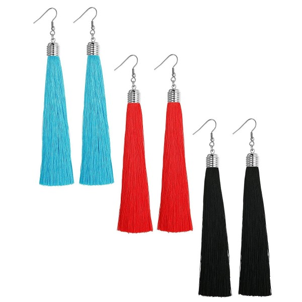 LOYALLOOK 1-3 Pairs Tassel Earrings Set Long Dangle Earrings for Women Black/Blue/Red Tassel - CC182HD866G