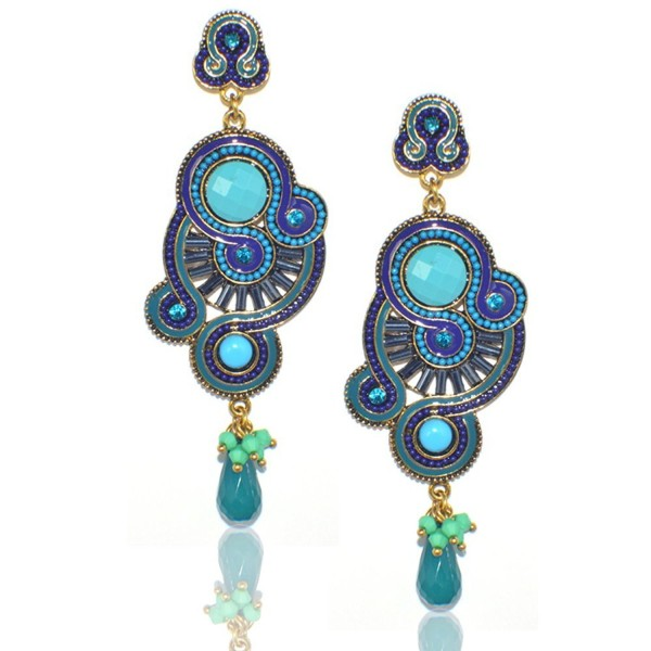 DongStar Fashion Jewelry Vintage Sparkly Safire Stone Swirl Chandelier Dangle Earrings - CZ12I76EX5N