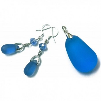 Matte Royal Sky Blue Color Dangle sea glass Pendant & Earring Handmade for Mother love - C817YKGD7A4
