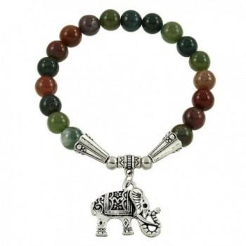 Falari Elephant Lucky Charm Natural Stone Bracelet Indian Agate B2448-IA - CZ124HGNFAP