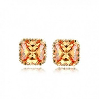 NEWBARK 18k Rose Gold-Plated Pincess Cut Cubic Zircon Stud Earrings - yellow-orange - CD12B7EVUWV