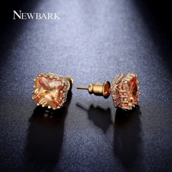 NEWBARK Gold Plated Pincess Zircon Earrings in Women's Stud Earrings