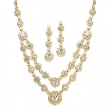 Mariell Regal Gold Two-Row Rhinestone Crystal Necklace and Earrings Set for Prom- Brides and Bridesmaids - CM122YON8LJ
