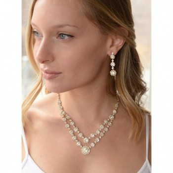 Mariell Rhinestone Necklace Earrings Bridesmaids