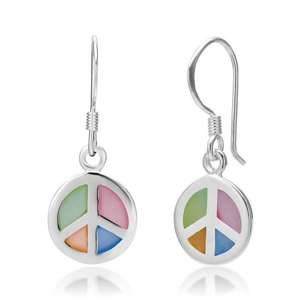 925 Sterling Silver Multi-Colored Mother of Pearl Shell Peace Sign Round Dangle Hook Earrings - CI116I1LB73