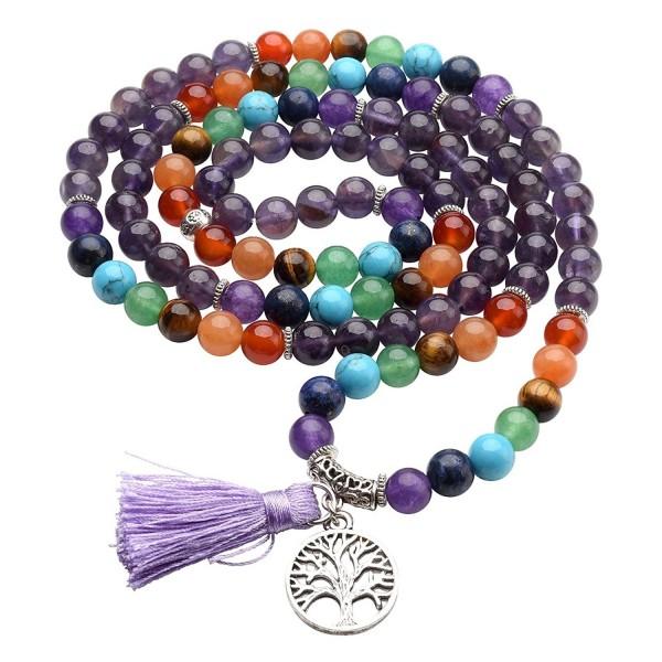 Natural Gemstone Buddhist Bracelet Necklace - Amethyst - CV186TYII58