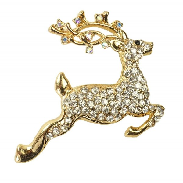 "Bejeweled Christmas ""Leaping Stag"" Rhinestone Pin Brooch 201 - C711WNPUJV7"