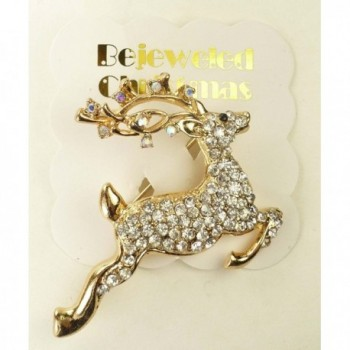 Bejeweled Christmas Leaping Rhinestone 201 in Women's Brooches & Pins