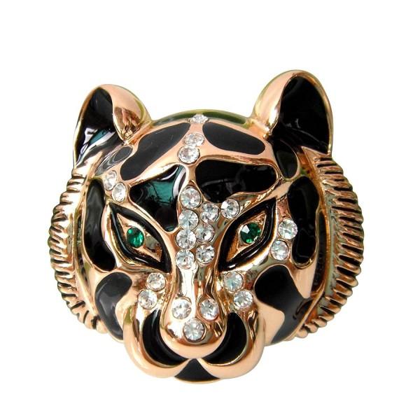 Navachi 18k Gold Plated Clear Crystal Black Enamel Tiger Head Brooch Pin - CH11SK3K8MB