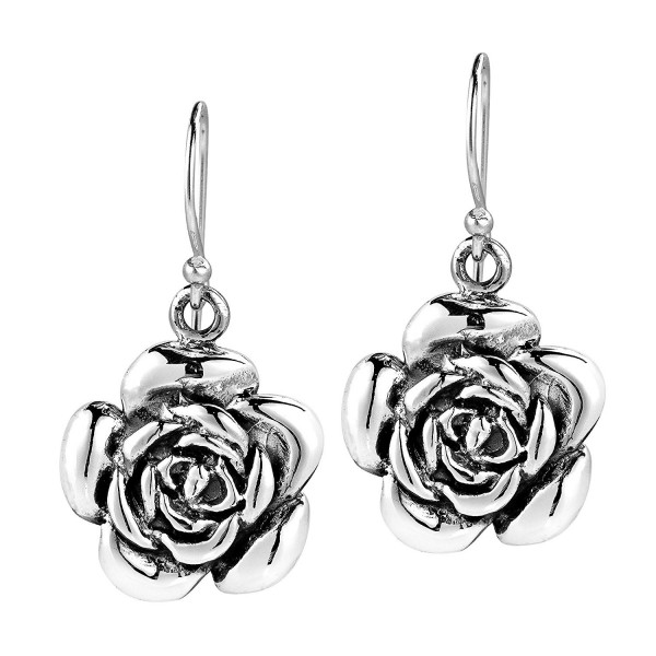 Sweet Blooming Rose .925 Sterling Silver Dangle Earrings - CC11NS2AYPT