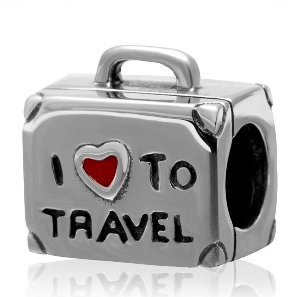 I Love To Travel Charm Solid 925 Sterling Silver Suitcase Charm with Red Enamel Heart for Bracelet - C112GEC3Q0P