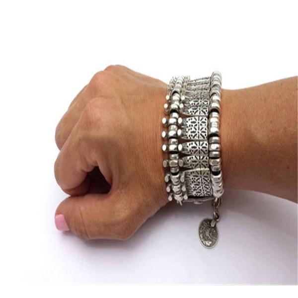 SUNSCSC Antique Turkish Boho Coin Jewelry Coachella Festival Tribal Ethnic Statement Bracelet Alloy - C511A1LDPLP