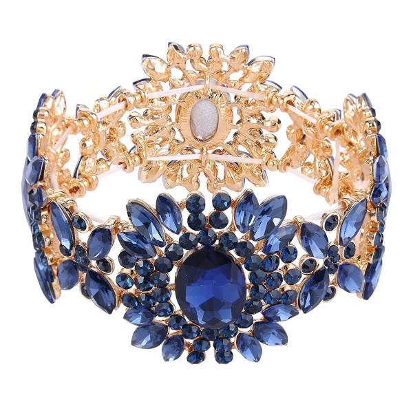 EVER FAITH Women's Austrian Crystal Bridal Flower Elastic Stretch Bracelet - Navy Blue Gold-Tone - CZ12O7MLABP