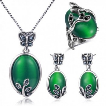 Tidoo Jewelry Vintage Jewelry Set Necklace Earring Ring Set Butterfly Leaves Jewelry for Women - CO1856C97YO