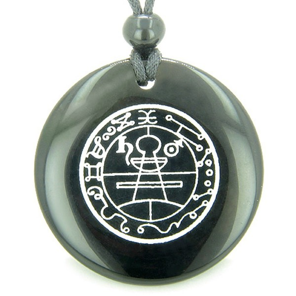 Secret Seal of Solomon Protection Powers Talisman Black Agate Magic Pendant Necklace - CU118ORP2F1
