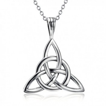 "925 Sterling Silver Good Luck Irish Celtic Knot Triangle Vintage Pendant Necklaces- Rolo Chain 18"" - CS120HR0EGH"
