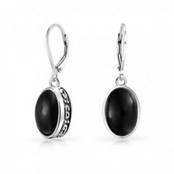 Bling Jewelry Sterling Silver Black Onyx Earrings Leverback - C411JB41DTF