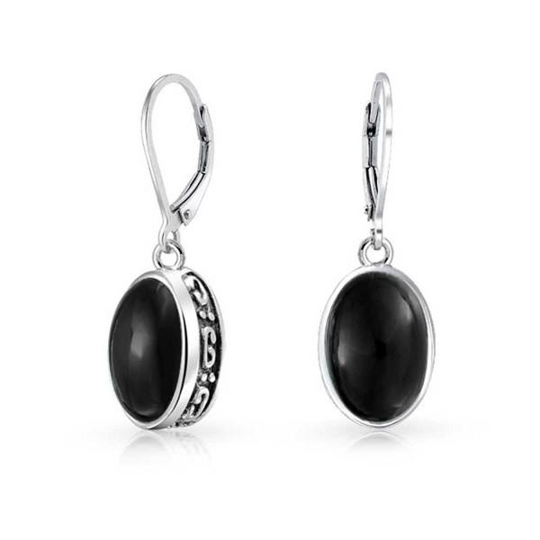 Bling Jewelry Sterling Silver Black Onyx Earrings Leverback - C411JB41DTF
