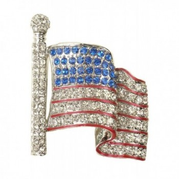 "For Love of Country ""American Flag Waving"" Rhinestone Pin Brooch - C011WGMRX7F"