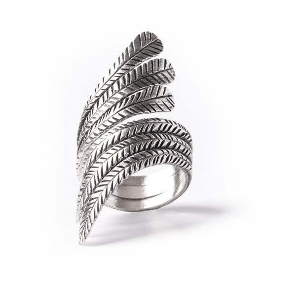 81stgeneration Women's .925 Sterling Silver Feather Leaf Adjustable Ring - CW110T8HSTL