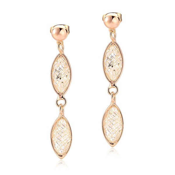 Mytys 18K Rose Gold Plated Caged Wire Crystal Tube Dangle Drop Earrings - CF12F5A4MUT