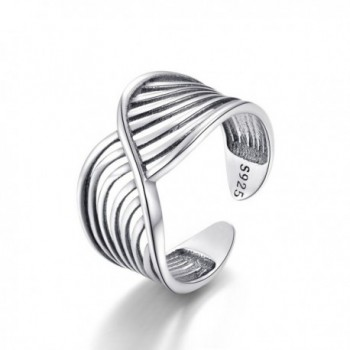 Twisted Vintage Ring Sterling Silver 925 Adjustable Stackable Toe Band Rings for Women Girls Men - C718C4KTGIC