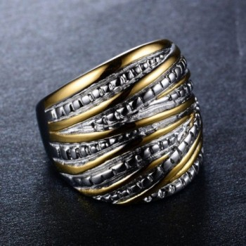 JunXin Yellow Interterwined Stainless Without in Women's Band Rings