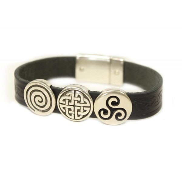 Irish Leather Bracelet Celtic Charms Made in Ireland - Black 7 1/2 - C517WT5N85R