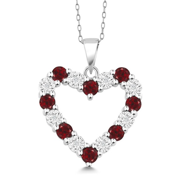 Diamond and Red Garnet 925 Sterling Silver Heart Shape Pendant Necklace with 18 Inch Silver Chain - CN182X7496S