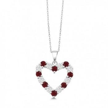 Diamond Garnet Sterling Pendant Necklace