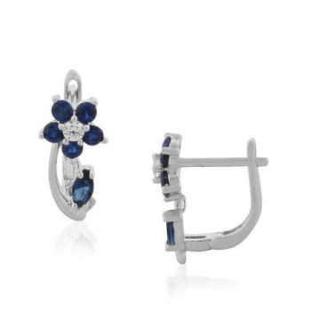 925 Sterling Silver Multicolor CZ Flower Hoop Huggie Small Earrings - Navy Blue and White - CH184KZOY0D