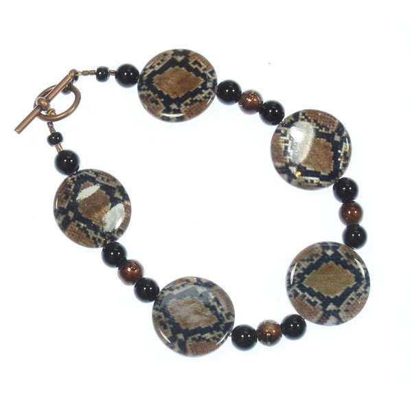 Beware of the Snake! Bracelet of Animal Print Mother of Pearl Beads 8.0 Inches - C311RLL5N1J